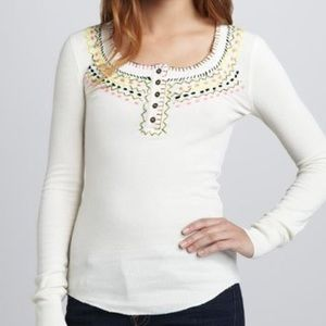 We The Free Embroidered Waffle Knit Henley